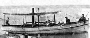"Steamer ""Pioneer"" with Tom and his family"