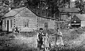 Stanton homestead with Tom, Ellen and 3 eldest children, about 1880.