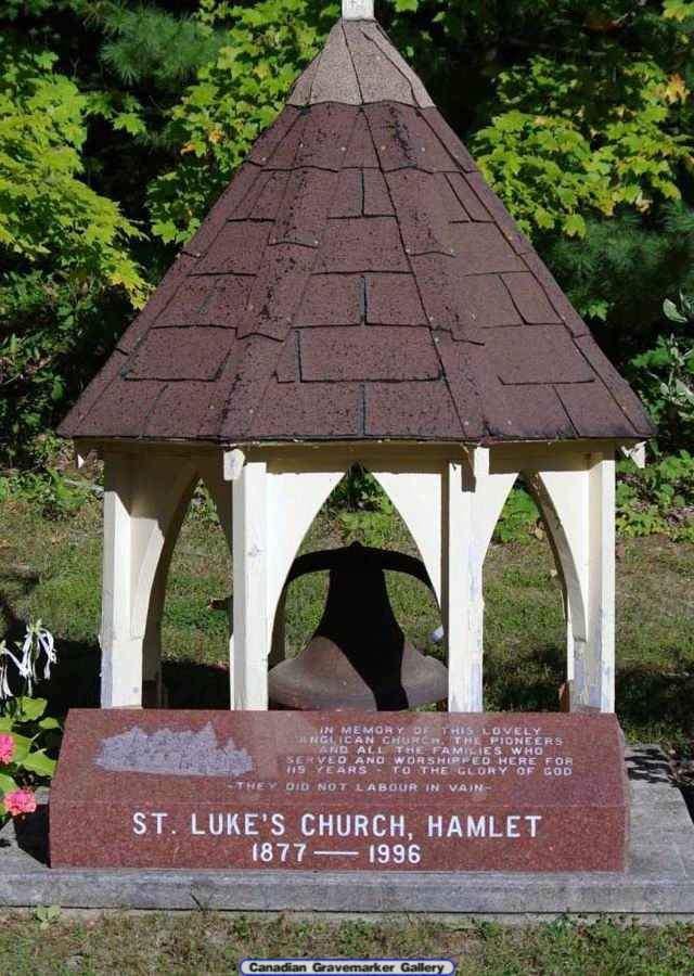 Bell Tower Memorial at St. Luke's Cemetery, Hamlet, Ontario